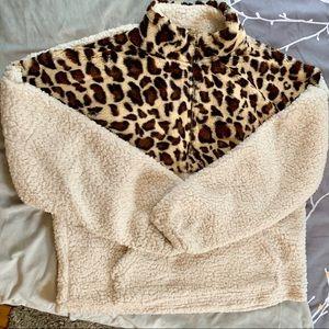 New - SHEIN 3/4 zip sherpa pullover